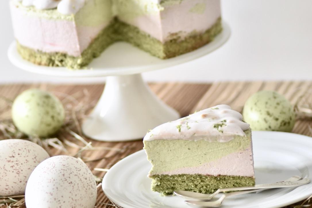 veganer Mojito-Rhabarber Cheesecake